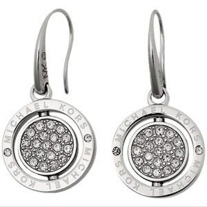 NEW Silver Brilliant Pave Spinning Drop Earrings